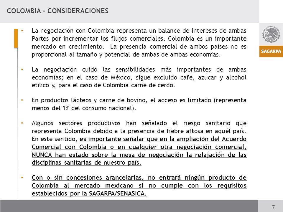 COLOMBIA - CONSIDERACIONES La negociación con Colombia representa un balance de intereses de ambas Partes por incrementar los flujos comerciales.