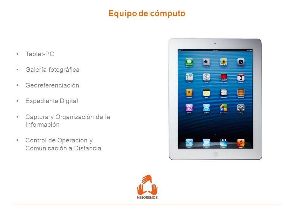 Equipo de cómputo Tablet-PC Galería fotográfica Georeferenciación Expediente Digital Captura y Organización de la Información Control de Operación y C