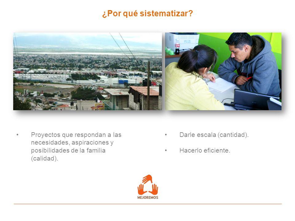 ¿Por qué sistematizar? Proyectos que respondan a las necesidades, aspiraciones y posibilidades de la familia (calidad). Darle escala (cantidad). Hacer