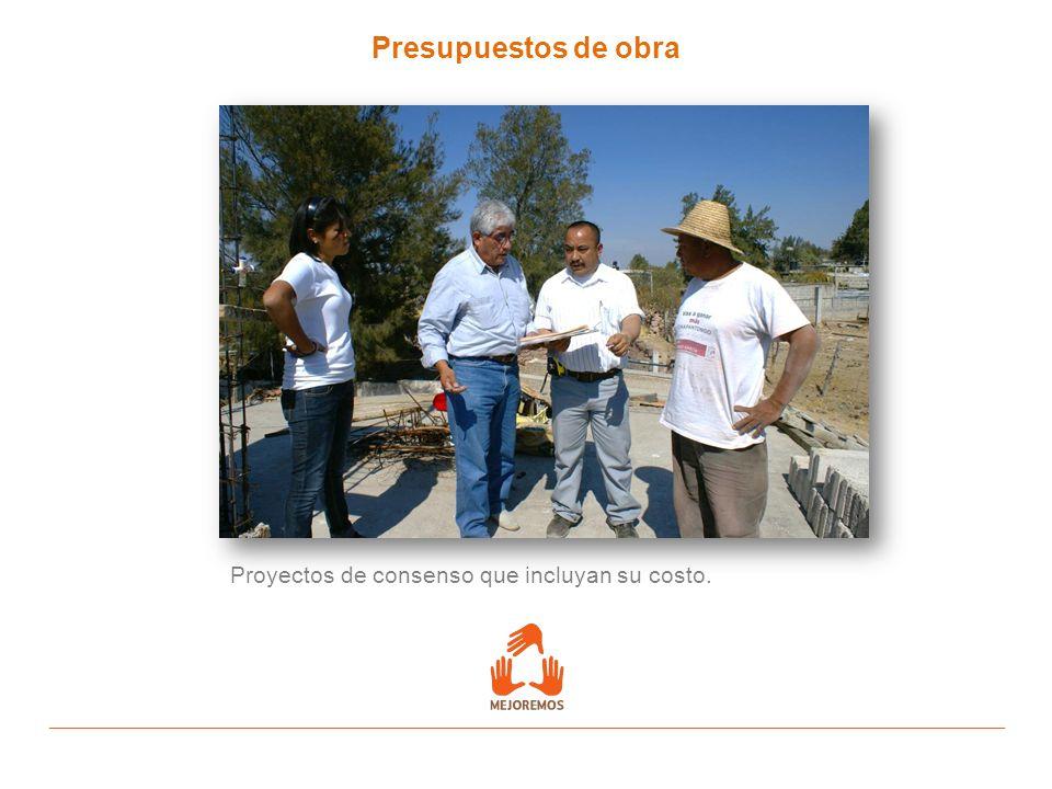 Presupuestos de obra Proyectos de consenso que incluyan su costo.