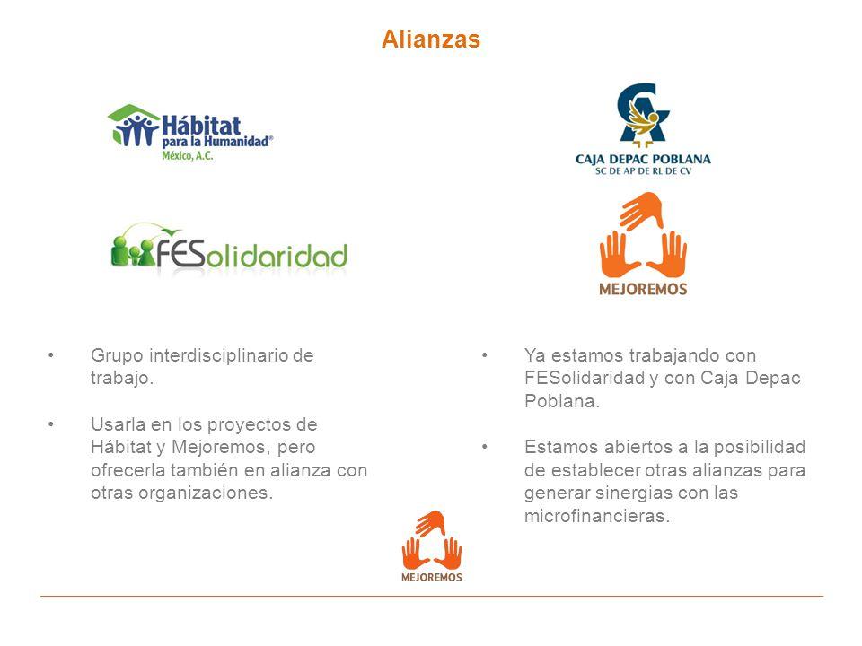 Alianzas Grupo interdisciplinario de trabajo. Usarla en los proyectos de Hábitat y Mejoremos, pero ofrecerla también en alianza con otras organizacion