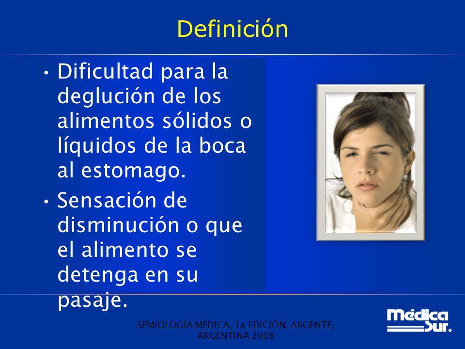 Definición Dificultad para la deglución de los alimentos sólidos o líquidos de la boca al estomago. Sensación de disminución o que el alimento se dete