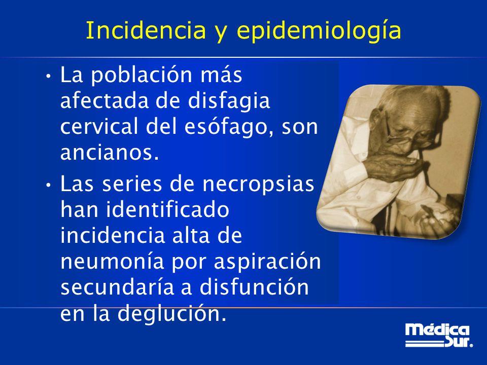 Incidencia y epidemiología La población más afectada de disfagia cervical del esófago, son ancianos. Las series de necropsias han identificado inciden