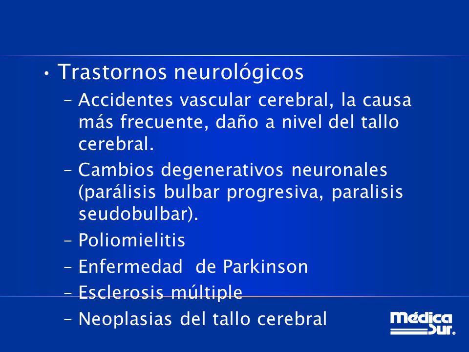 Trastornos neurológicos –Accidentes vascular cerebral, la causa más frecuente, daño a nivel del tallo cerebral. –Cambios degenerativos neuronales (par