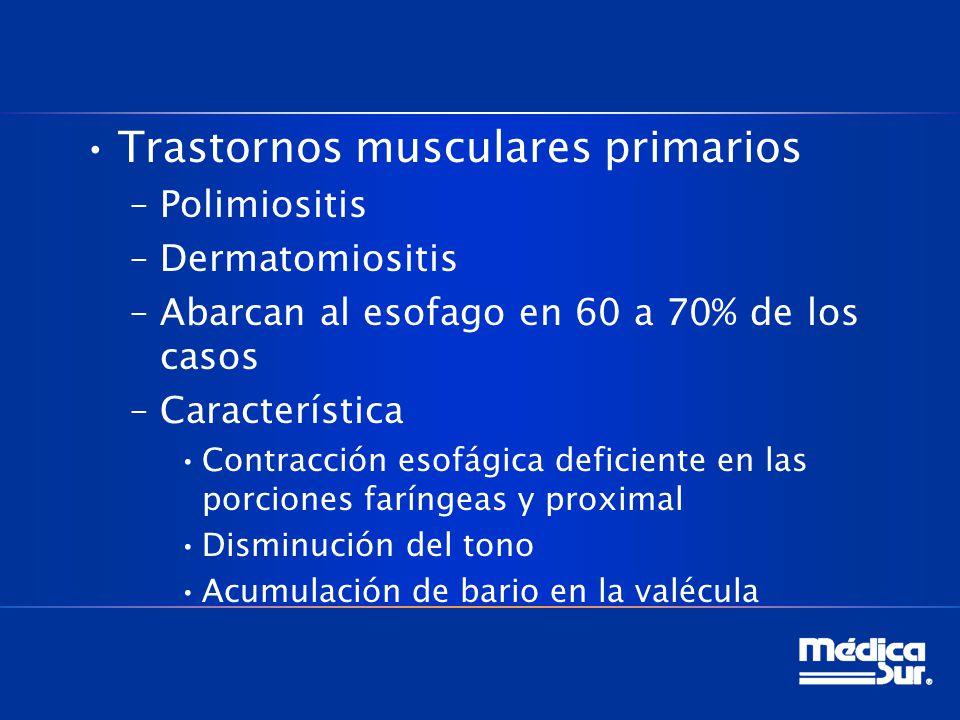 Trastornos musculares primarios –Polimiositis –Dermatomiositis –Abarcan al esofago en 60 a 70% de los casos –Característica Contracción esofágica deficiente en las porciones faríngeas y proximal Disminución del tono Acumulación de bario en la valécula