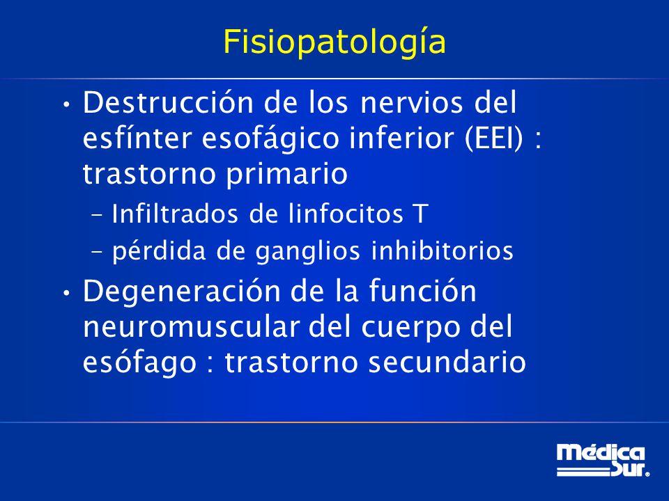 Fisiopatología Destrucción de los nervios del esfínter esofágico inferior (EEI) : trastorno primario –Infiltrados de linfocitos T –pérdida de ganglios inhibitorios Degeneración de la función neuromuscular del cuerpo del esófago : trastorno secundario