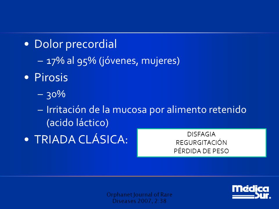 Dolor precordial –17% al 95% (jóvenes, mujeres) Pirosis –30% –Irritación de la mucosa por alimento retenido (acido láctico) TRIADA CLÁSICA: Orphanet J