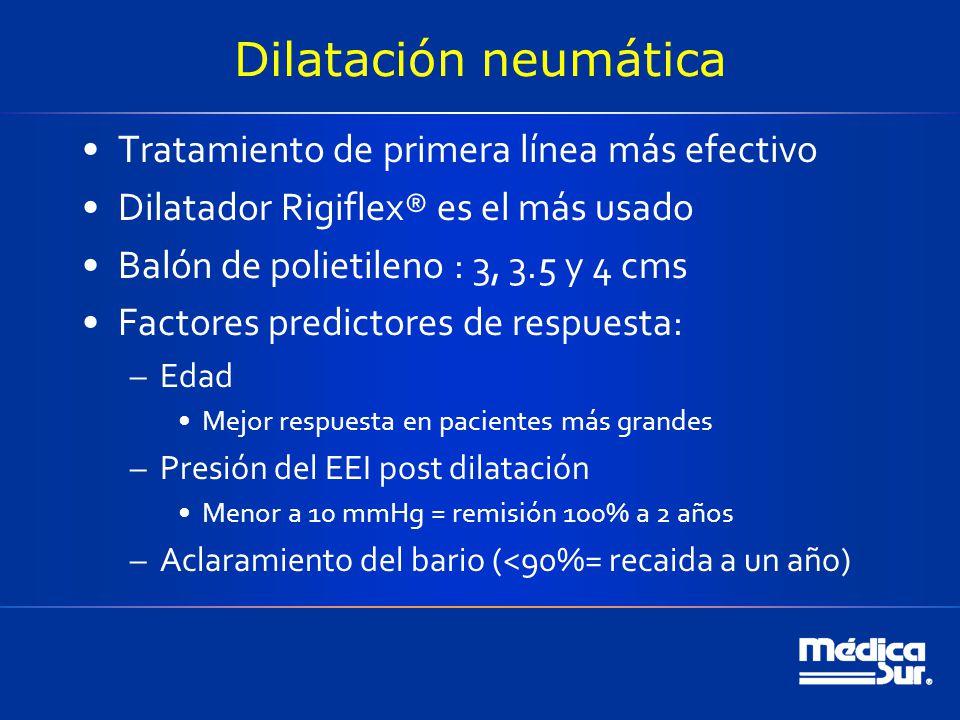 Dilatación neumática Tratamiento de primera línea más efectivo Dilatador Rigiflex® es el más usado Balón de polietileno : 3, 3.5 y 4 cms Factores predictores de respuesta: –Edad Mejor respuesta en pacientes más grandes –Presión del EEI post dilatación Menor a 10 mmHg = remisión 100% a 2 años –Aclaramiento del bario (<90%= recaida a un año)