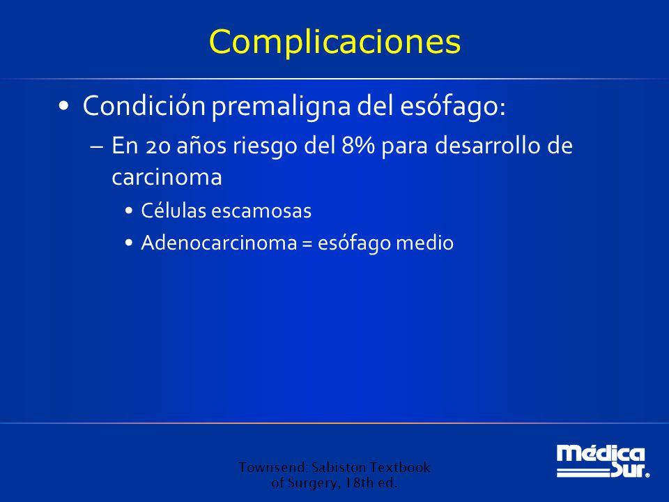 Complicaciones Condición premaligna del esófago: –En 20 años riesgo del 8% para desarrollo de carcinoma Células escamosas Adenocarcinoma = esófago medio Townsend: Sabiston Textbook of Surgery, 18th ed.