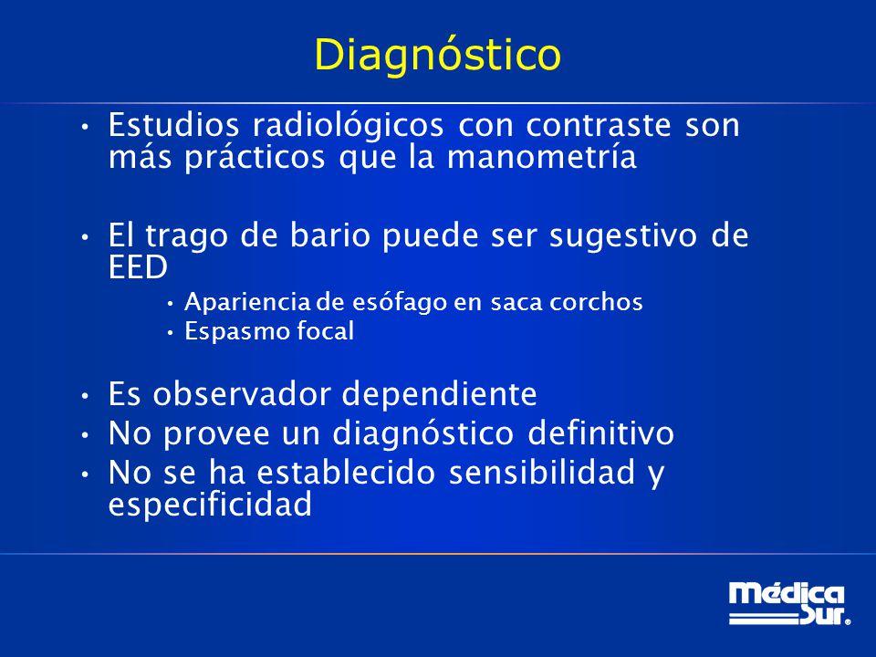 Diagnóstico Estudios radiológicos con contraste son más prácticos que la manometría El trago de bario puede ser sugestivo de EED Apariencia de esófago