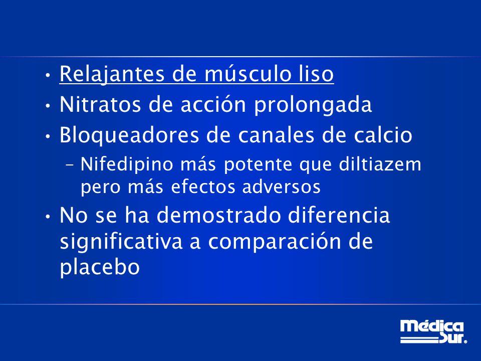 Relajantes de músculo liso Nitratos de acción prolongada Bloqueadores de canales de calcio –Nifedipino más potente que diltiazem pero más efectos adversos No se ha demostrado diferencia significativa a comparación de placebo