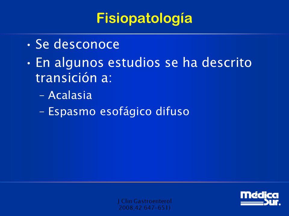 Fisiopatología Se desconoce En algunos estudios se ha descrito transición a: –Acalasia –Espasmo esofágico difuso J Clin Gastroenterol 2008;42:647–651)
