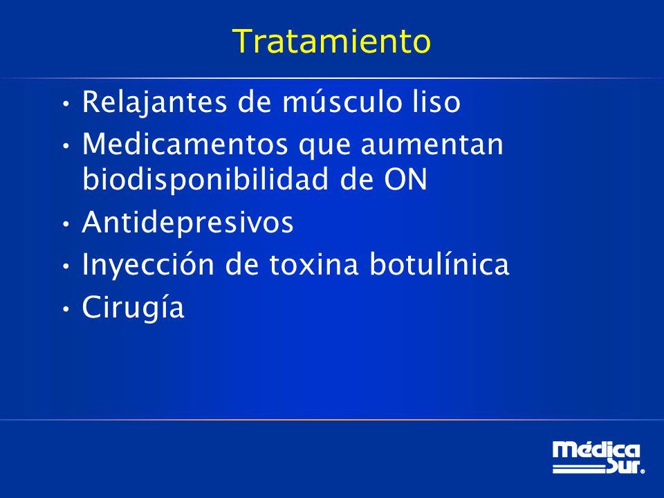 Tratamiento Relajantes de músculo liso Medicamentos que aumentan biodisponibilidad de ON Antidepresivos Inyección de toxina botulínica Cirugía