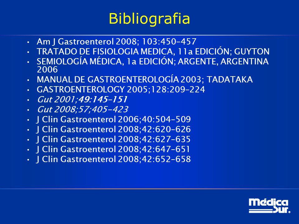 Bibliografia Am J Gastroenterol 2008; 103:450–457 TRATADO DE FISIOLOGIA MEDICA, 11a EDICIÓN; GUYTON SEMIOLOGÍA MÉDICA, 1a EDICIÓN; ARGENTE, ARGENTINA 2006 MANUAL DE GASTROENTEROLOGÍA 2003; TADATAKA GASTROENTEROLOGY 2005;128:209–224 Gut 2001;49:145–151 Gut 2008;57;405-423 J Clin Gastroenterol 2006;40:504–509 J Clin Gastroenterol 2008;42:620–626 J Clin Gastroenterol 2008;42:627–635 J Clin Gastroenterol 2008;42:647–651 J Clin Gastroenterol 2008;42:652–658