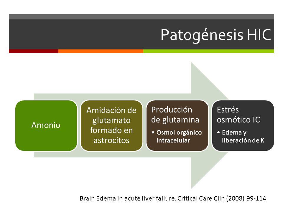 Patogénesis HIC Amonio Amidación de glutamato formado en astrocitos Producción de glutamina Osmol orgánico intracelular Estrés osmótico IC Edema y liberación de K Brain Edema in acute liver failure.