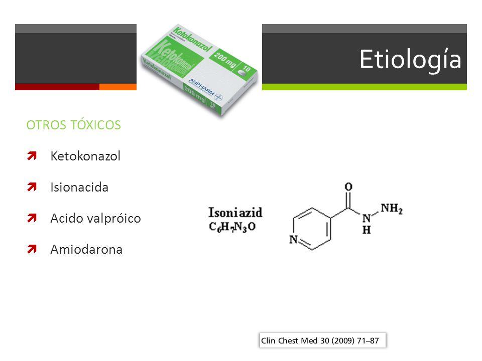 Etiología OTROS TÓXICOS Ketokonazol Isionacida Acido valpróico Amiodarona