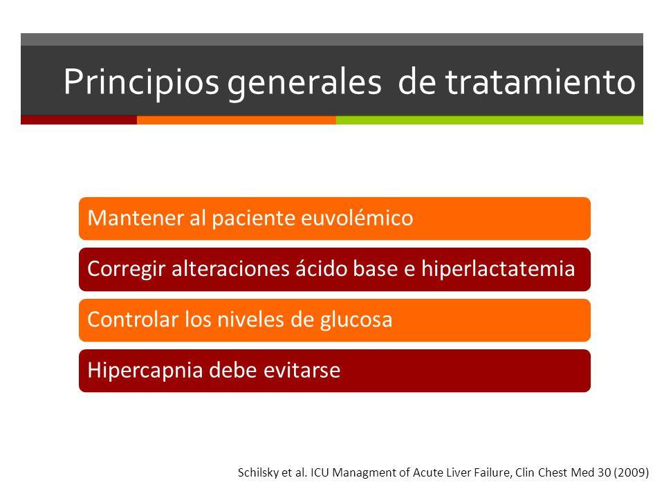 Principios generales de tratamiento Mantener al paciente euvolémicoCorregir alteraciones ácido base e hiperlactatemiaControlar los niveles de glucosaHipercapnia debe evitarse Schilsky et al.