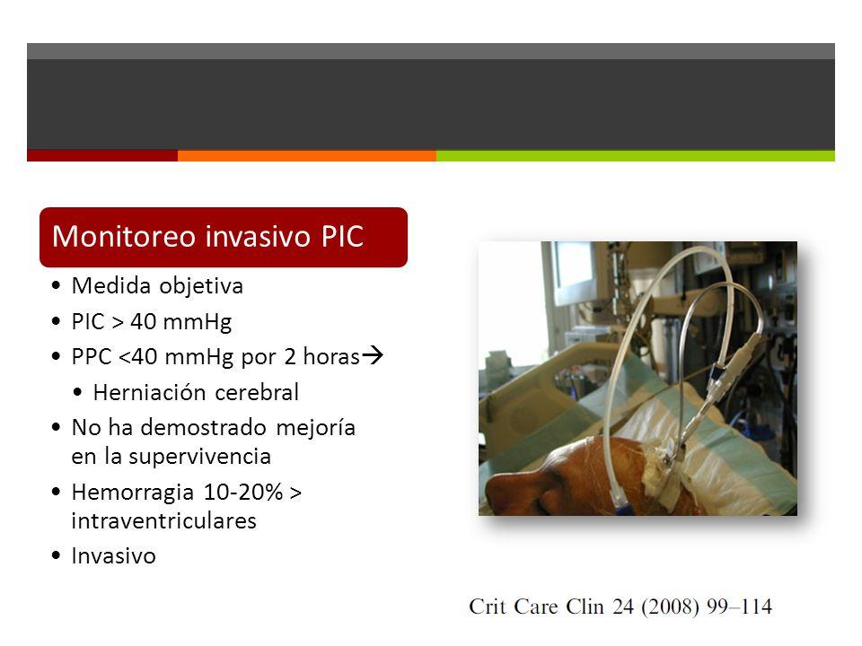 Monitoreo invasivo PIC Medida objetiva PIC > 40 mmHg PPC <40 mmHg por 2 horas Herniación cerebral No ha demostrado mejoría en la supervivencia Hemorragia 10-20% > intraventriculares Invasivo