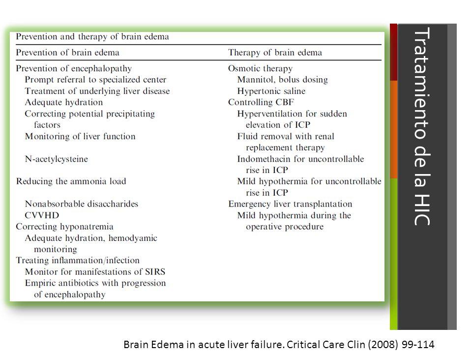 Tratamiento de la HIC Brain Edema in acute liver failure. Critical Care Clin (2008) 99-114