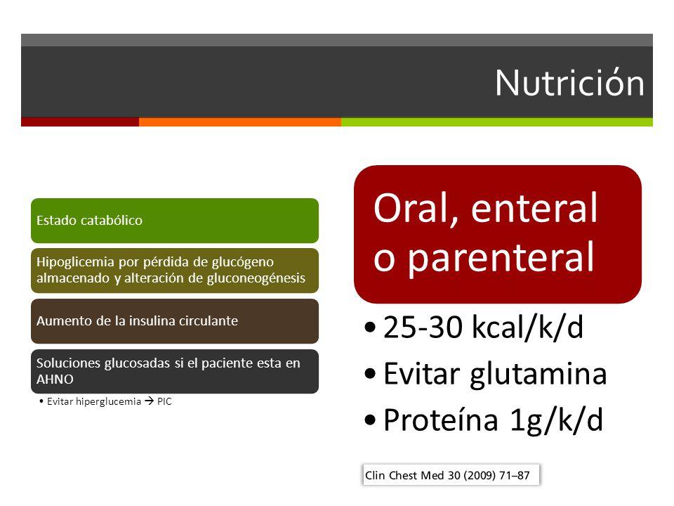 Nutrición Estado catabólico Hipoglicemia por pérdida de glucógeno almacenado y alteración de gluconeogénesis Aumento de la insulina circulante Soluciones glucosadas si el paciente esta en AHNO Evitar hiperglucemia PIC Oral, enteral o parenteral 25-30 kcal/k/d Evitar glutamina Proteína 1g/k/d