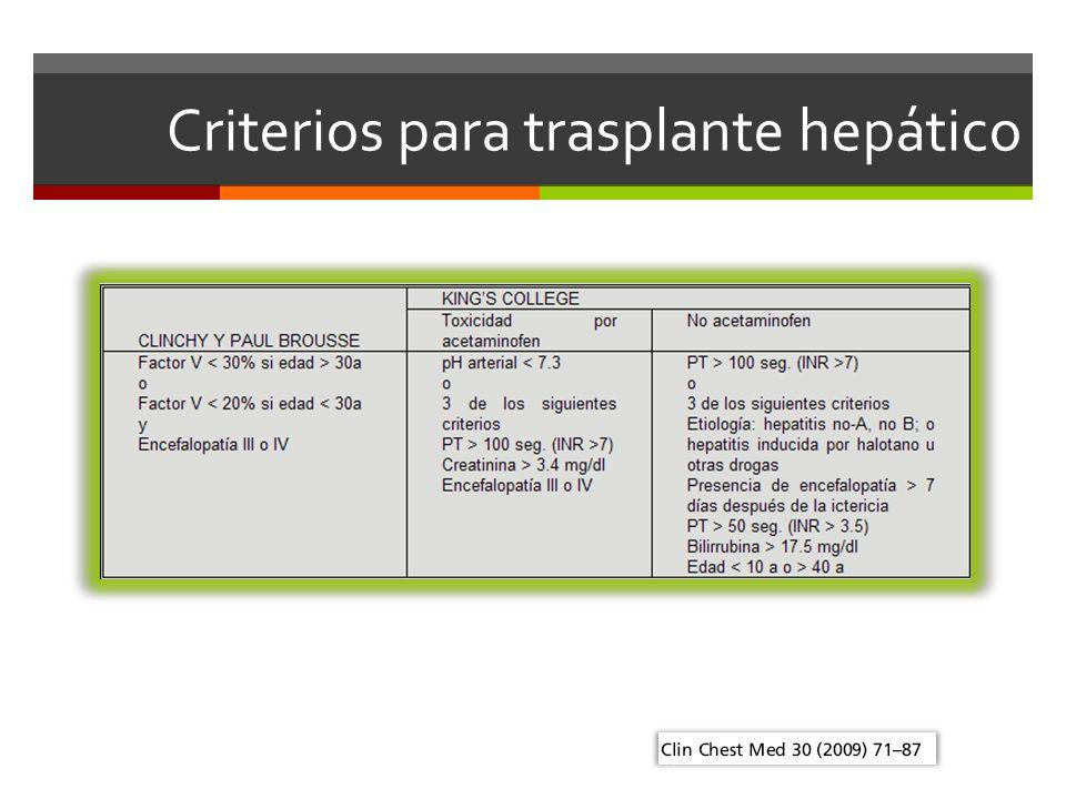 Criterios para trasplante hepático
