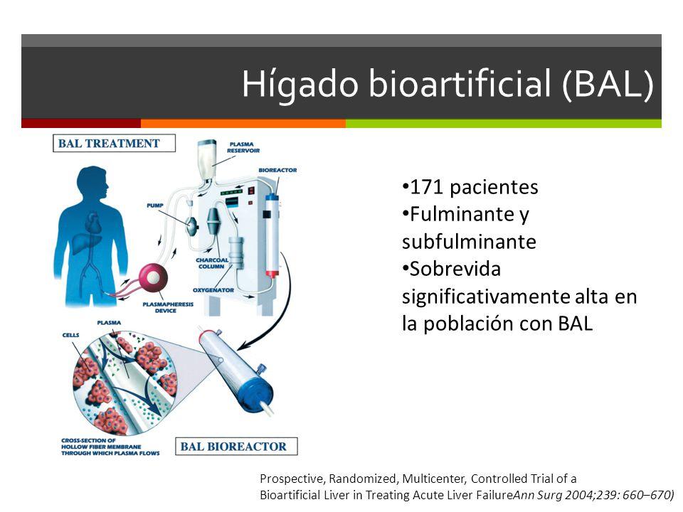 Hígado bioartificial (BAL) 171 pacientes Fulminante y subfulminante Sobrevida significativamente alta en la población con BAL Prospective, Randomized, Multicenter, Controlled Trial of a Bioartificial Liver in Treating Acute Liver FailureAnn Surg 2004;239: 660–670)