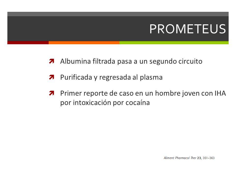 PROMETEUS Albumina filtrada pasa a un segundo circuito Purificada y regresada al plasma Primer reporte de caso en un hombre joven con IHA por intoxicación por cocaína