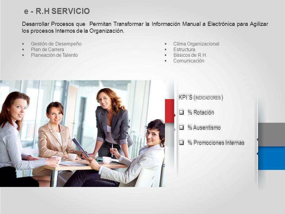e - R.H SERVICIO Desarrollar Procesos que Permitan Transformar la Información Manual a Electrónica para Agilizar los procesos Internos de la Organizac