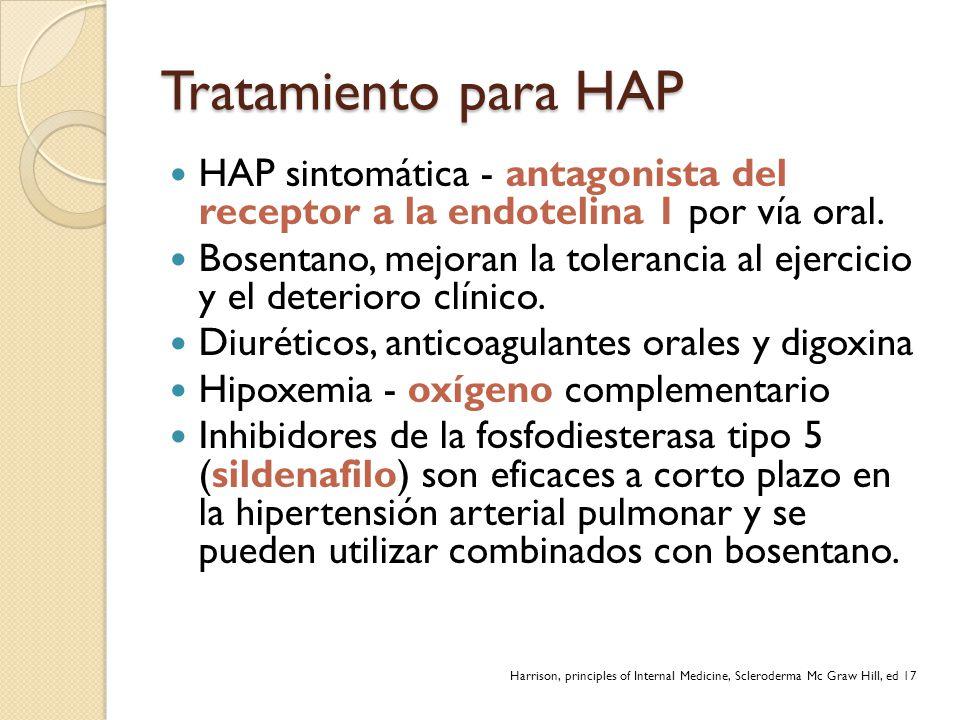 Tratamiento para HAP HAP sintomática - antagonista del receptor a la endotelina 1 por vía oral. Bosentano, mejoran la tolerancia al ejercicio y el det