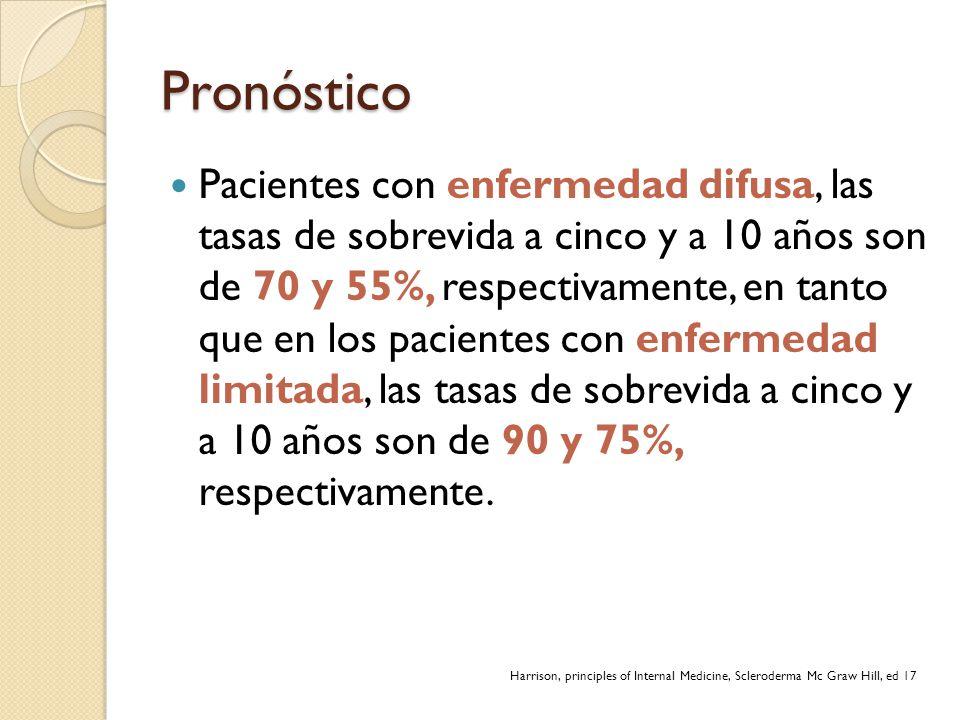 Pronóstico Pacientes con enfermedad difusa, las tasas de sobrevida a cinco y a 10 años son de 70 y 55%, respectivamente, en tanto que en los pacientes