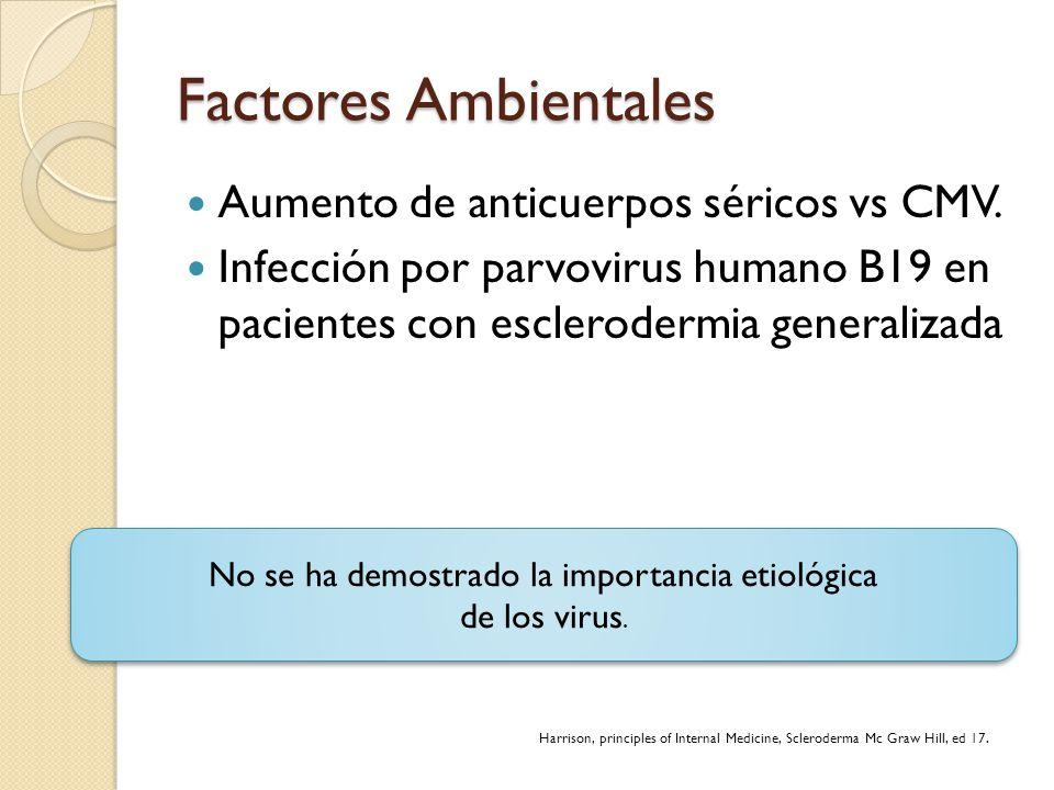 Factores Ambientales Aumento de anticuerpos séricos vs CMV. Infección por parvovirus humano B19 en pacientes con esclerodermia generalizada Harrison,