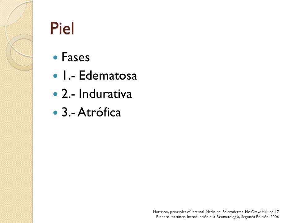 Piel Fases 1.- Edematosa 2.- Indurativa 3.- Atrófica Harrison, principles of Internal Medicine, Scleroderma Mc Graw Hill, ed 17 Pindaro-Martinez, Intr