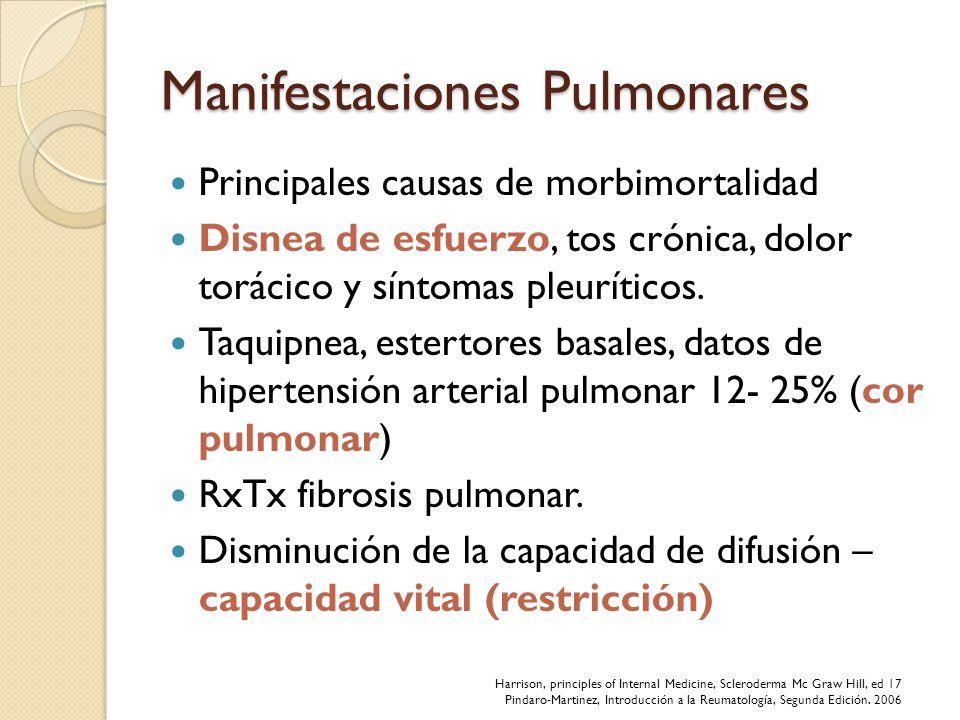 Manifestaciones Pulmonares Principales causas de morbimortalidad Disnea de esfuerzo, tos crónica, dolor torácico y síntomas pleuríticos. Taquipnea, es