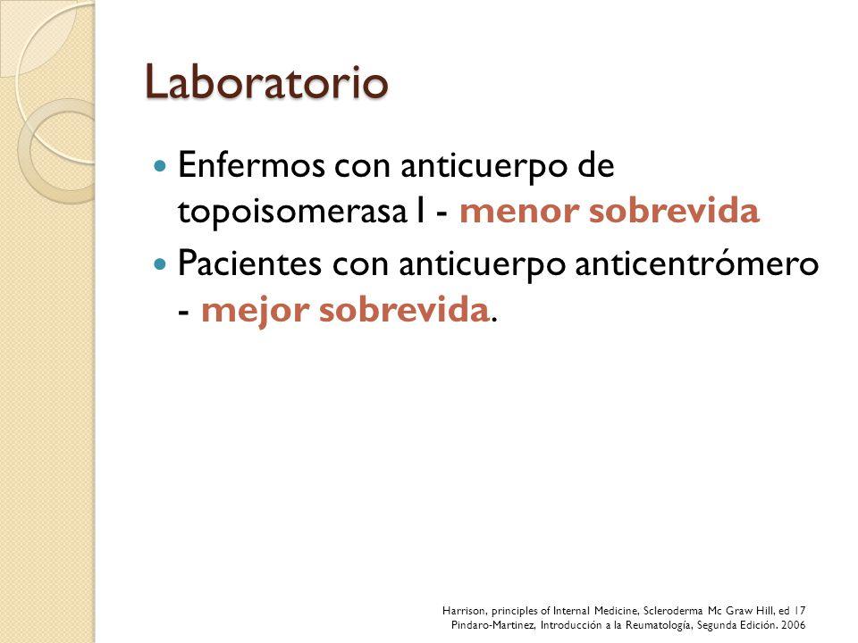 Laboratorio Enfermos con anticuerpo de topoisomerasa I - menor sobrevida Pacientes con anticuerpo anticentrómero - mejor sobrevida. Harrison, principl