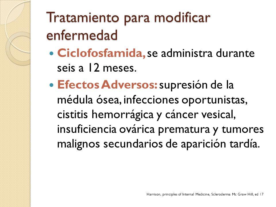 Tratamiento para modificar enfermedad Ciclofosfamida, se administra durante seis a 12 meses. Efectos Adversos: supresión de la médula ósea, infeccione