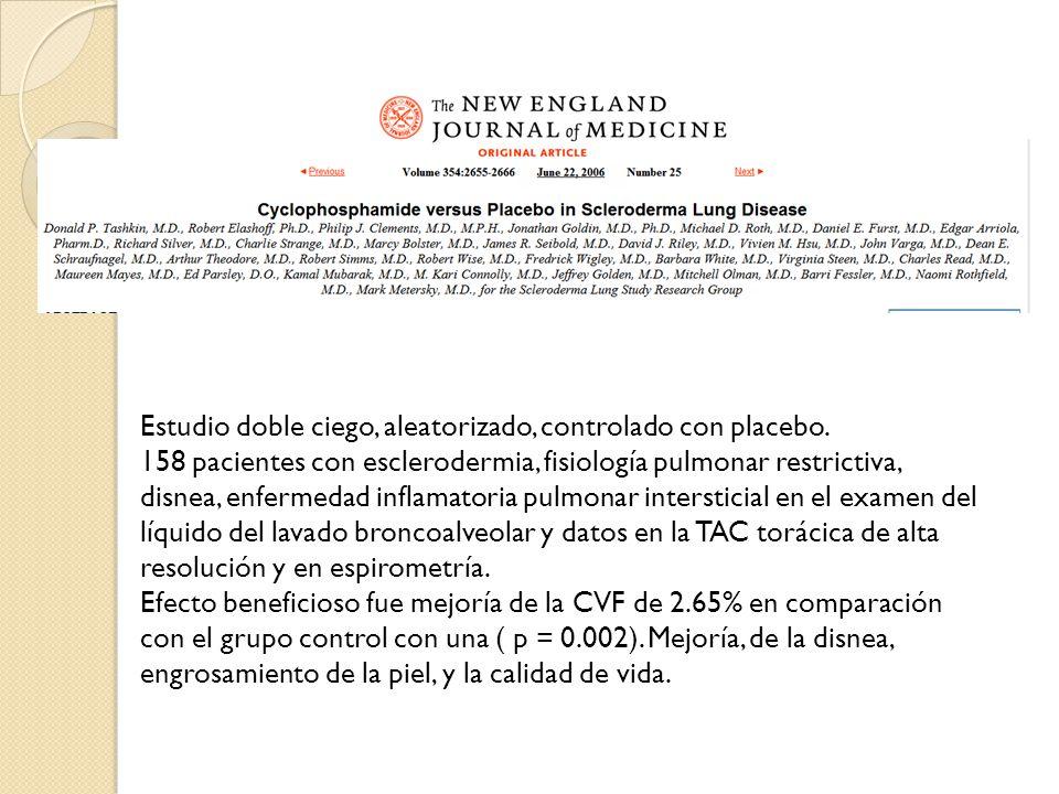Estudio doble ciego, aleatorizado, controlado con placebo. 158 pacientes con esclerodermia, fisiología pulmonar restrictiva, disnea, enfermedad inflam
