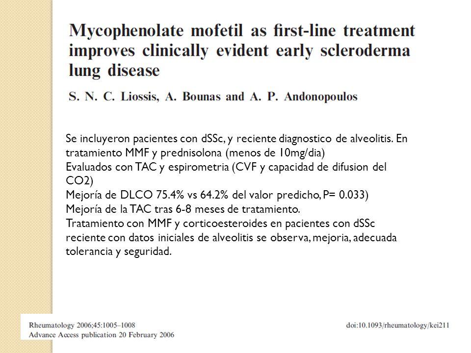 Se incluyeron pacientes con dSSc, y reciente diagnostico de alveolitis. En tratamiento MMF y prednisolona (menos de 10mg/dia) Evaluados con TAC y espi