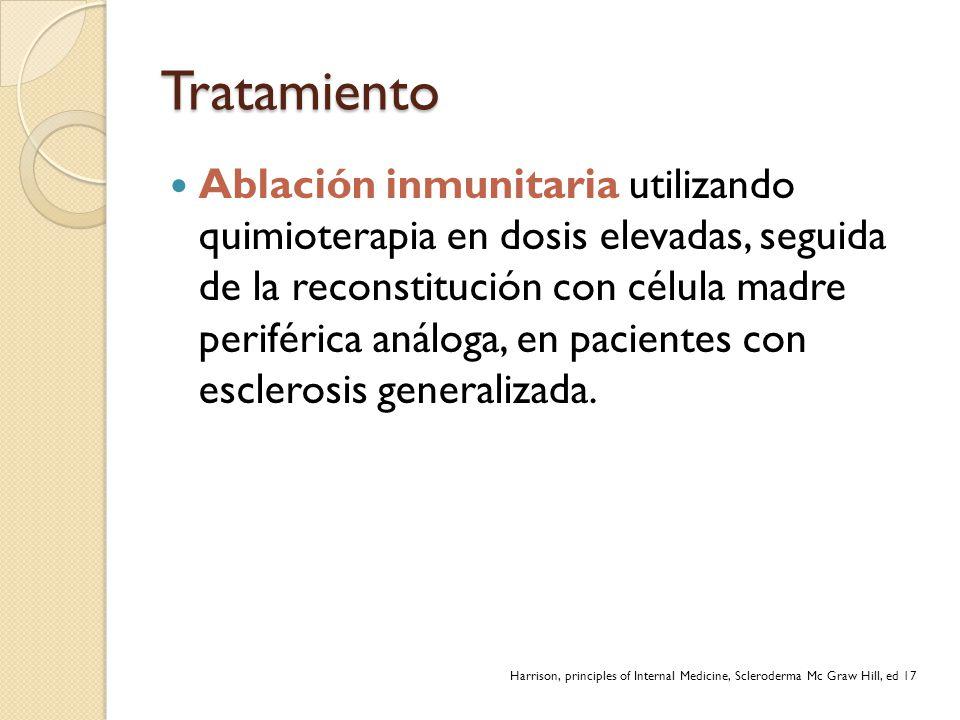 Tratamiento Ablación inmunitaria utilizando quimioterapia en dosis elevadas, seguida de la reconstitución con célula madre periférica análoga, en paci