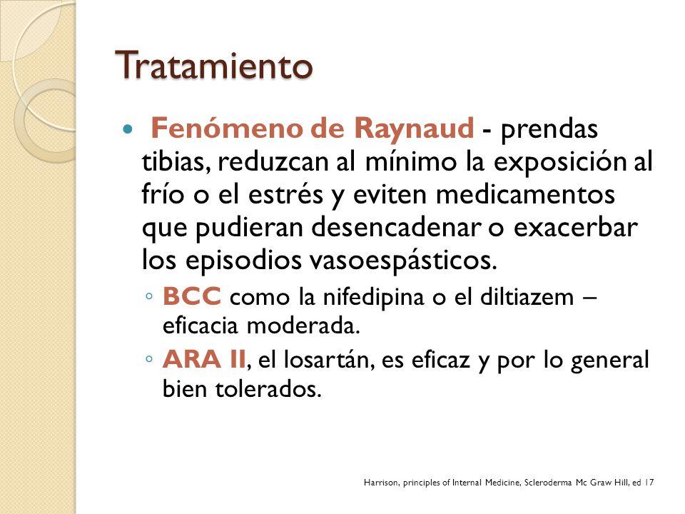 Tratamiento Fenómeno de Raynaud - prendas tibias, reduzcan al mínimo la exposición al frío o el estrés y eviten medicamentos que pudieran desencadenar