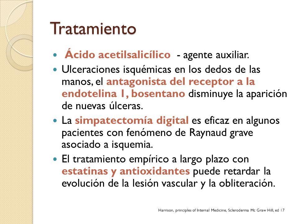 Tratamiento Ácido acetilsalicílico - agente auxiliar. Ulceraciones isquémicas en los dedos de las manos, el antagonista del receptor a la endotelina 1