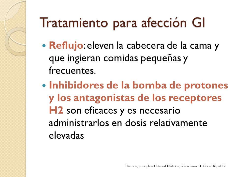 Tratamiento para afección GI Reflujo: eleven la cabecera de la cama y que ingieran comidas pequeñas y frecuentes. Inhibidores de la bomba de protones