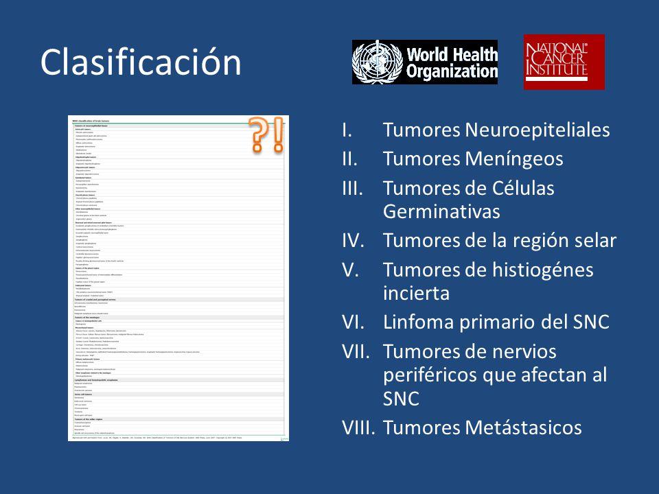 Clasificación I.Tumores Neuroepiteliales II.Tumores Meníngeos III.Tumores de Células Germinativas IV.Tumores de la región selar V.Tumores de histiogénes incierta VI.Linfoma primario del SNC VII.Tumores de nervios periféricos que afectan al SNC VIII.Tumores Metástasicos