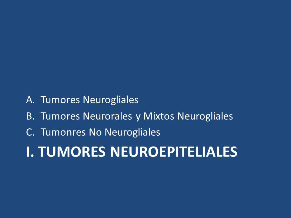 I. TUMORES NEUROEPITELIALES A.Tumores Neurogliales B.Tumores Neurorales y Mixtos Neurogliales C.Tumonres No Neurogliales