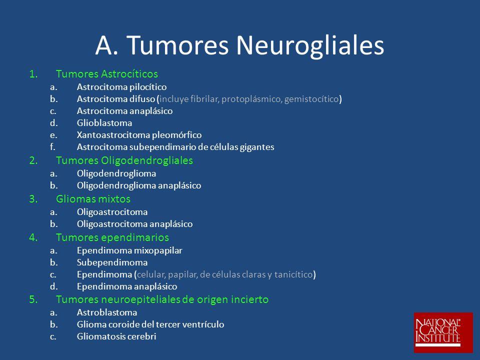 A. Tumores Neurogliales 1.Tumores Astrocíticos a.Astrocitoma pilocítico b.Astrocitoma difuso (incluye fibrilar, protoplásmico, gemistocítico) c.Astroc