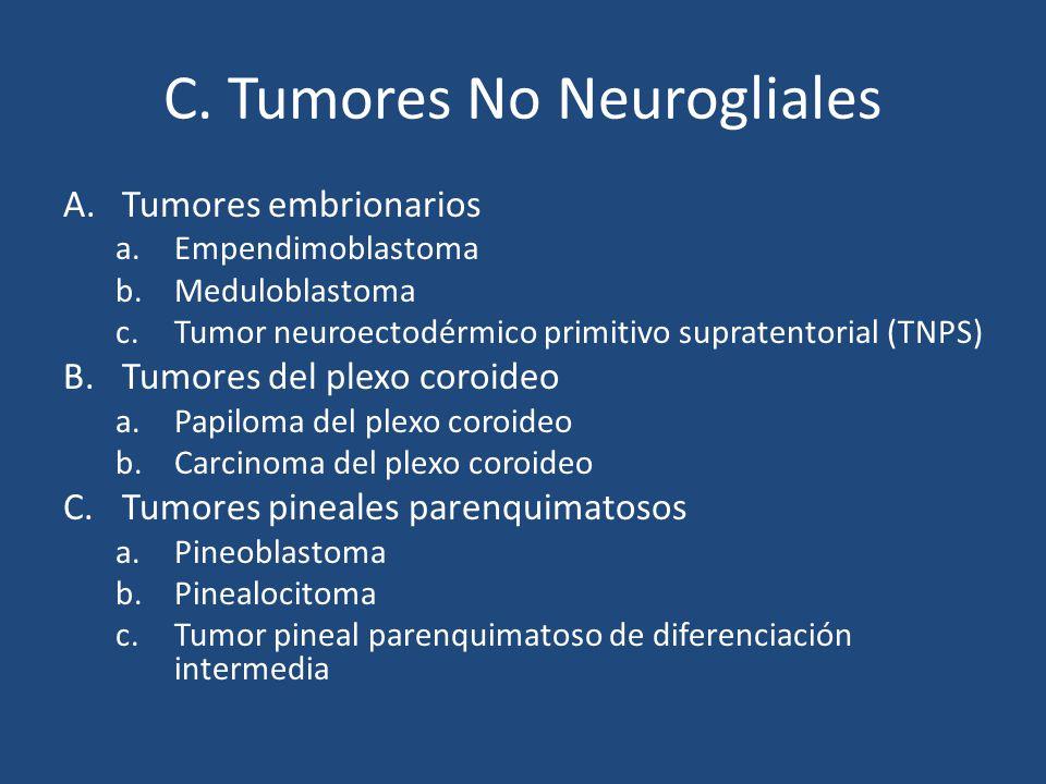 C. Tumores No Neurogliales A.Tumores embrionarios a.Empendimoblastoma b.Meduloblastoma c.Tumor neuroectodérmico primitivo supratentorial (TNPS) B.Tumo