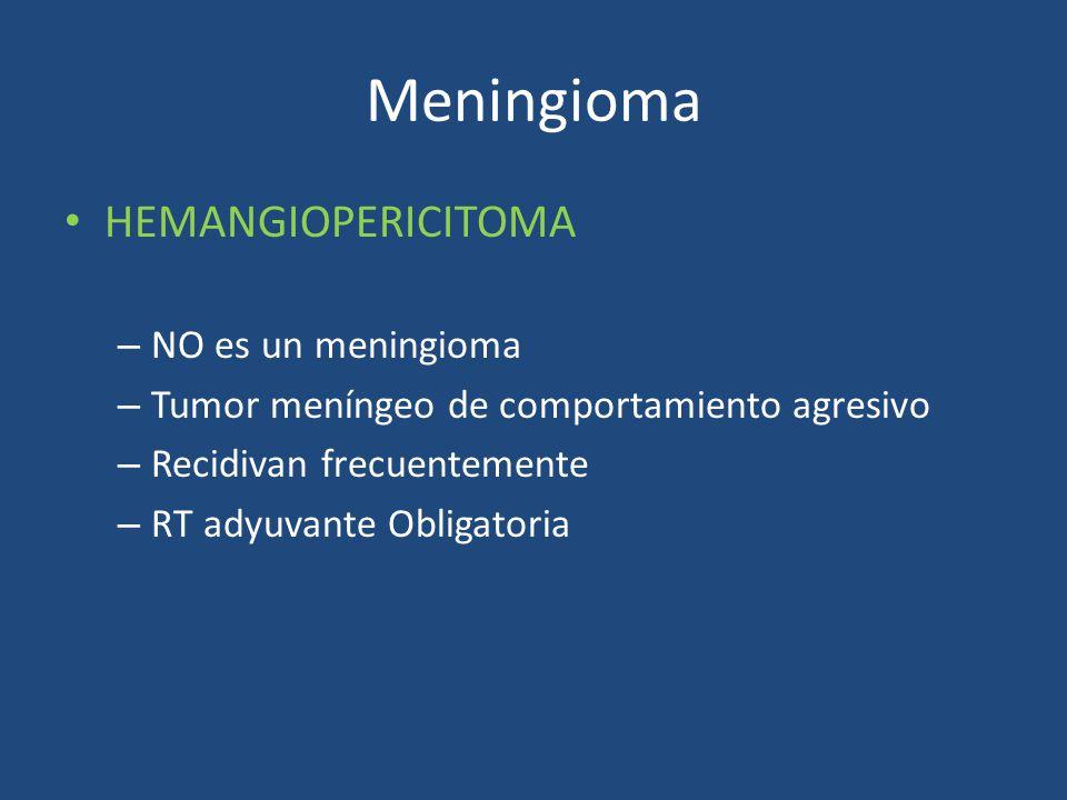 Meningioma HEMANGIOPERICITOMA – NO es un meningioma – Tumor meníngeo de comportamiento agresivo – Recidivan frecuentemente – RT adyuvante Obligatoria