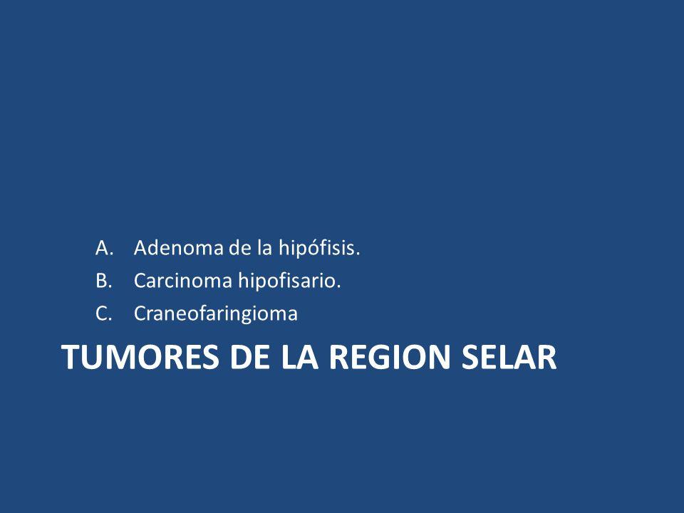 TUMORES DE LA REGION SELAR A.Adenoma de la hipófisis. B.Carcinoma hipofisario. C.Craneofaringioma