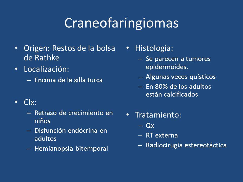 Craneofaringiomas Origen: Restos de la bolsa de Rathke Localización: – Encima de la silla turca Clx: – Retraso de crecimiento en niños – Disfunción en