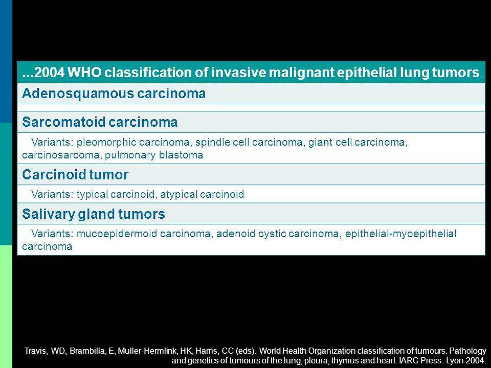 ...2004 WHO classification of invasive malignant epithelial lung tumors Adenosquamous carcinoma Sarcomatoid carcinoma Variants: pleomorphic carcinoma,