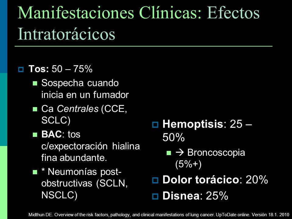Manifestaciones Clínicas: Efectos Intratorácicos Tos: 50 – 75% Sospecha cuando inicia en un fumador Centrales Ca Centrales (CCE, SCLC) BAC: tos c/expe